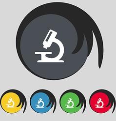 Microscope icon sign symbol on five colored vector