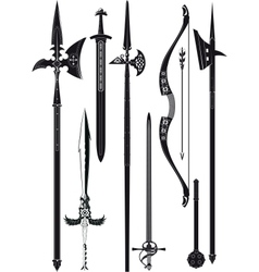Collection of medieval weapons vector