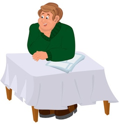 Happy cartoon man sitting at the table vector