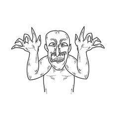 Old ugly man sketch vector