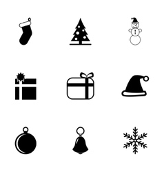 Black christmas icon set vector