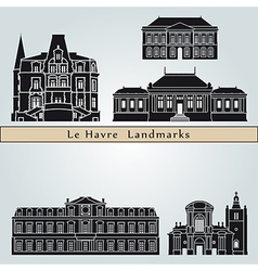 Le havre landmarks and monuments vector