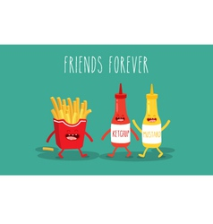 Mustard and ketchup vector