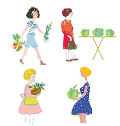 Women with vegetables shopping vector