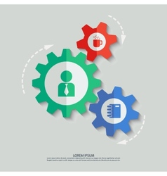 Color cogwheels with man cup notepad icons vector