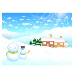 Snowman in winter background designs vector