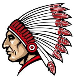 American native chief head vector
