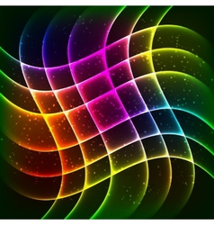 Neon rainbow waves background vector