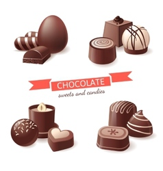 Chocolate sweets and candies vector