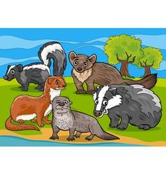 Mustelids animals cartoon vector