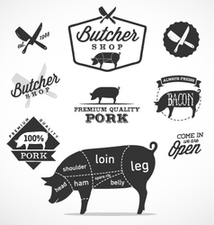 Pork cuts diagram and butchery design elements vector