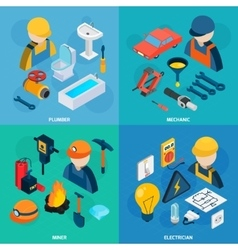 Technic professions isometric icon set vector