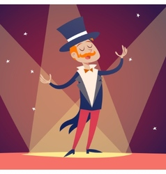 Circus show host boy man in suit with cylinder hat vector