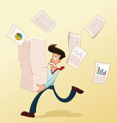 Young worker and documents vector