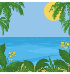Sea sun sky foliage and flowers vector