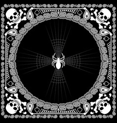 Bandana pattern skull and spider vector