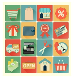 Flat icons shopping set vector