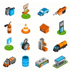 Gas station elements isometric icons vector