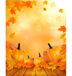 Nature background with autumn leaves and wooden vector