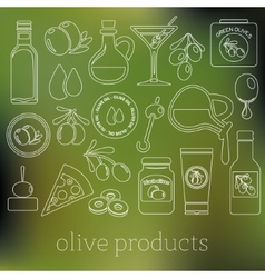 Olives outline icons vector