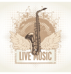 Saxophone with wings vector