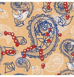 Cartoon pattern with birds beads and paisley vector
