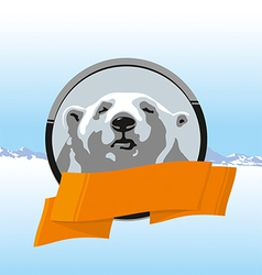 White bear ribbons vector