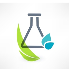 Test tube with leaf icon concept of organic vector