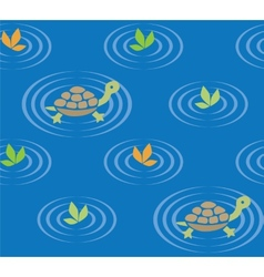 Seamless pattern with funny swiming turtles vector