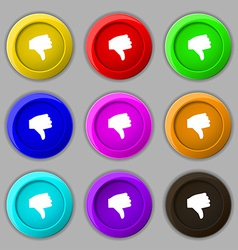 Dislike thumb down icon sign symbol on nine round vector