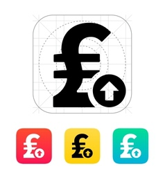 Pound sterling exchange rate up icon vector