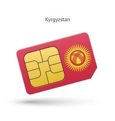 Kyrgyzstan mobile phone sim card with flag vector