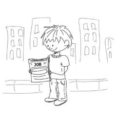 Boy look for the job sketch vector