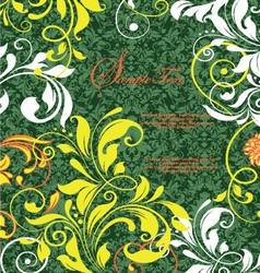 Green damask design greeting card vector