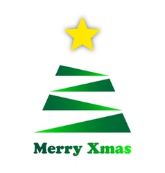 Stylized green christmas tree with a gold star vector