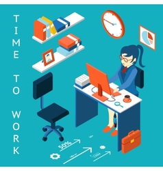 Time to work concept business corporate process vector