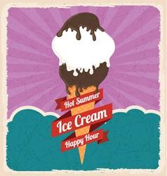 Retro ice cream poster vector
