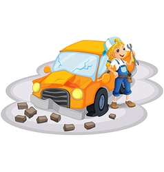 A young girl fixing an orange car vector