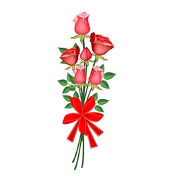 A lovely red rose bouquet with red ribbon vector