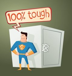 Superhero guarding a deposit box vector