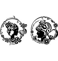 Vignette retro female profile vector
