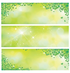 Leaves spring banners vector