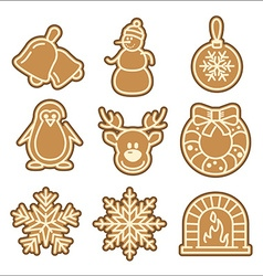 Christmas cookie icons set vector