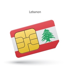Lebanon mobile phone sim card with flag vector
