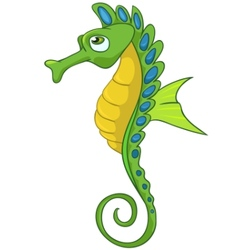 Cartoon character seahorse vector