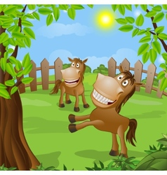 Funny horse on nature vector