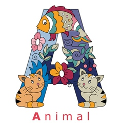 Letter a animal vector
