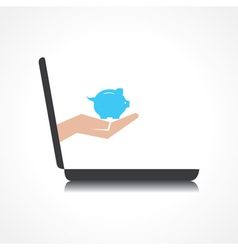 Hand holding piggy bank comes from laptop screen vector