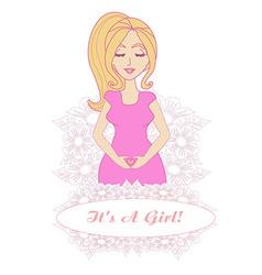 Its a girl - pregnant woman card vector