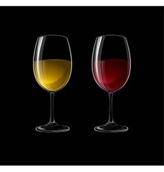 Red and white wine in a glass isolated on black vector